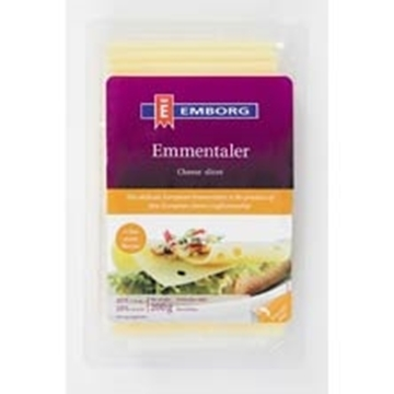 Picture of CHEESE SLICES EMMENTALER EMBORG 200G PAC