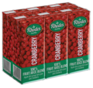 Picture of Rhodes Cranberry Juice Pack 6 x 200ml