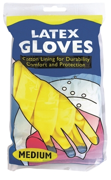 Picture of Yellow Household Latex Gloves Medium Pack