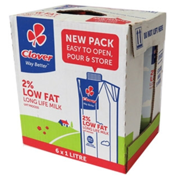 Picture of Clover UHT Long Life Low Fat Milk Carton 6 x 1L