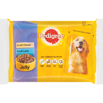 Picture of Pedigree Chicken & Lamb Dog Food Pack 4 x 100g
