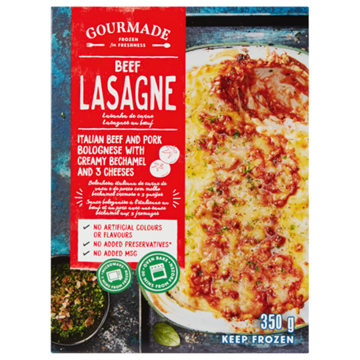 Picture of Gourmade Frozen Beef Lasagne Ready Meal 350g