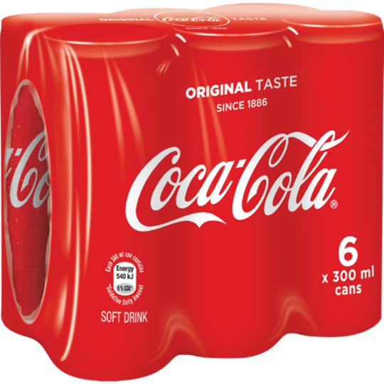 Picture of Coca Cola Original Soft Drink Cans 6 x 300ml