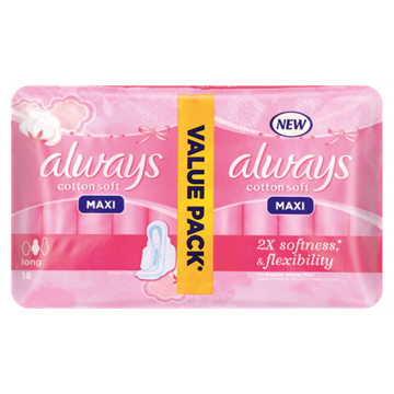Picture of Always Maxi Cotton Soft Long Sanitary Pads 18 Pack