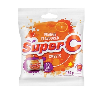 Picture of CANDY ROLLS MINI ORANGE SUPER C 24X150G