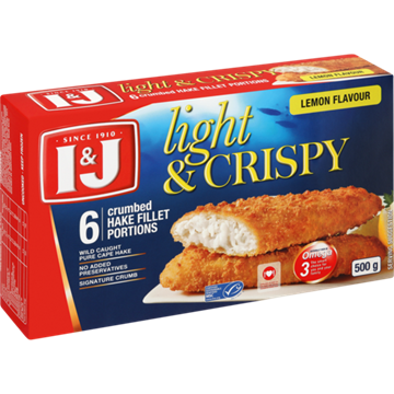 Picture of I&J Light & Crispy Lemon 6 Crumbed Hake 500g