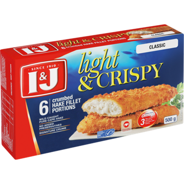 Picture of I&J Light & Crispy Classic 6 Crumbed Hake 500g