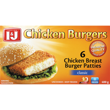 Picture of I&J Frozen Chicken Breast Burger Patties 400g