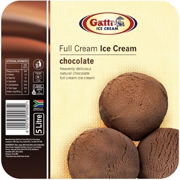 Picture of Gatti Full Cream Chocolate Ice Cream Tub 5l
