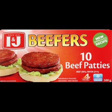 Picture of I&J Beefers Frozen Beef Patties 500g