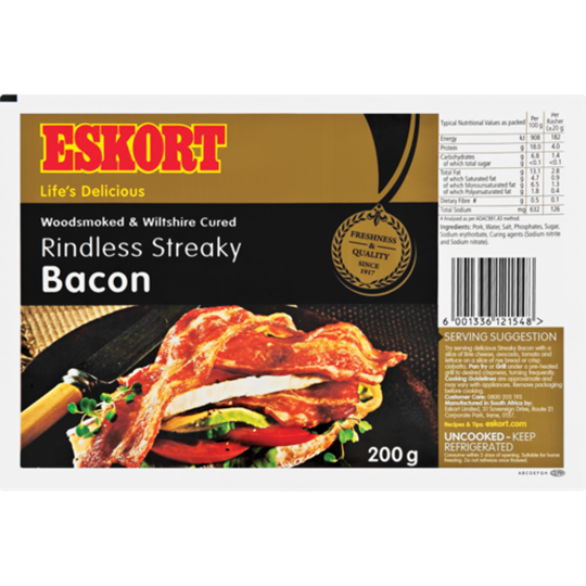 Picture of Eskort Streaky Rindless Bacon 200g