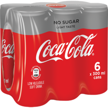 Picture of Coca Cola Light No Sugar Soft Drink Cans 6 x 300ml