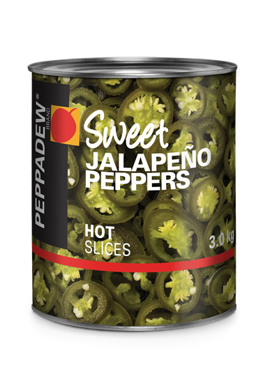 Picture of Peppadew Sweet Jalapeno Peppers Hot Slices Can 3kg