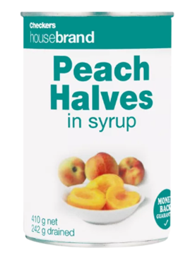 Picture of Checkers Housebrand Peach Halves In Syrup 410g