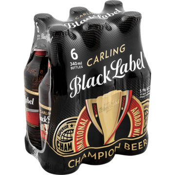Picture of Black Label Beer 6 x 340ml Bottle