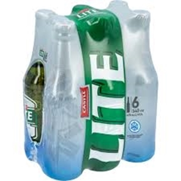 Picture of Castle Lite Beer 6 x 340ml Bottle