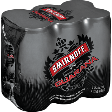 Picture of Smirnoff Ice Double Black Guarana 6x250ml