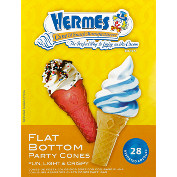 Picture of Hermes Flat Bottom Party Cones 28's